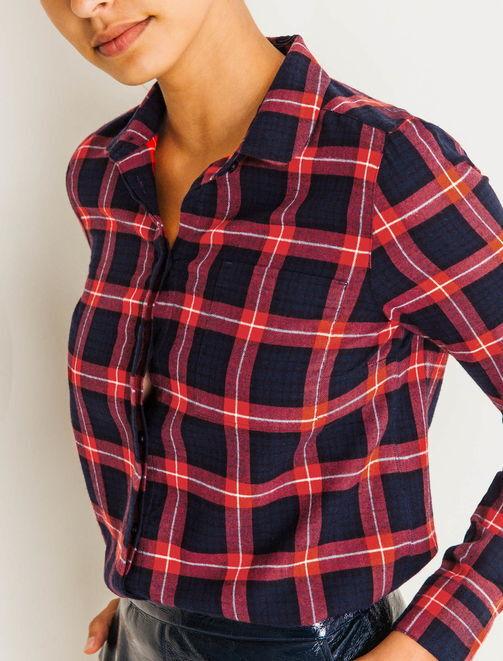 Chemise à carreaux rouge et marine femme