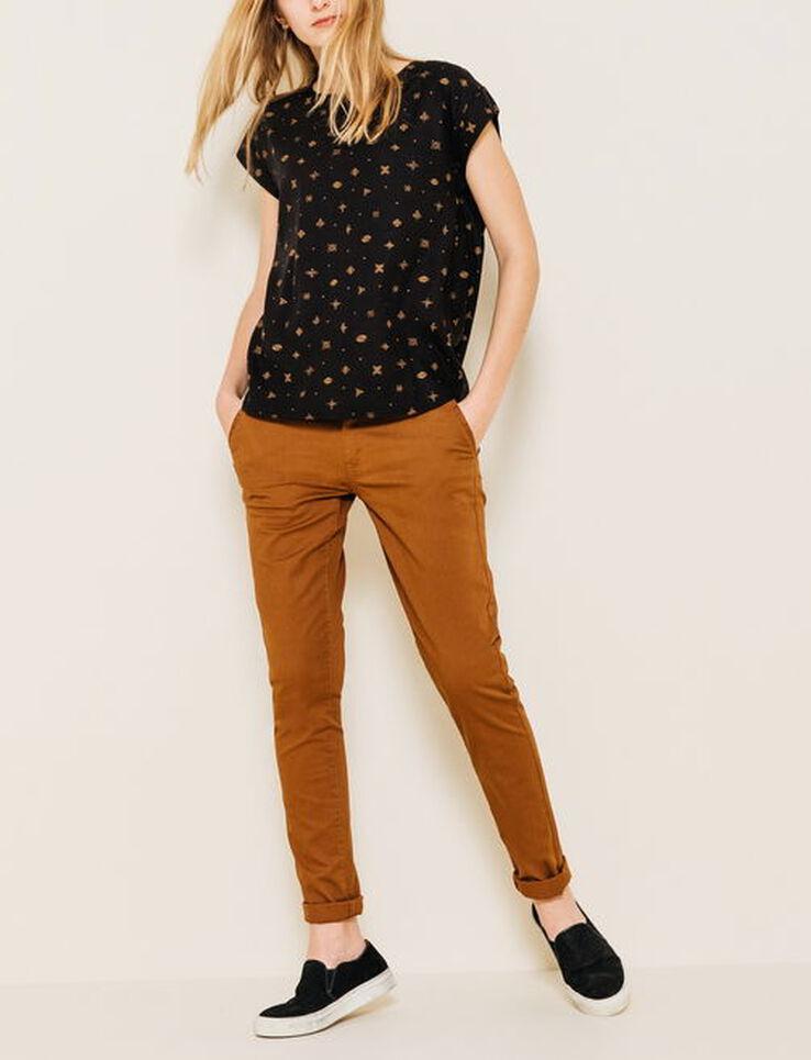 pantalon chino slack femme camel bizzbee. Black Bedroom Furniture Sets. Home Design Ideas