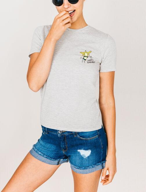 T-shirt rayé imprimé banane femme