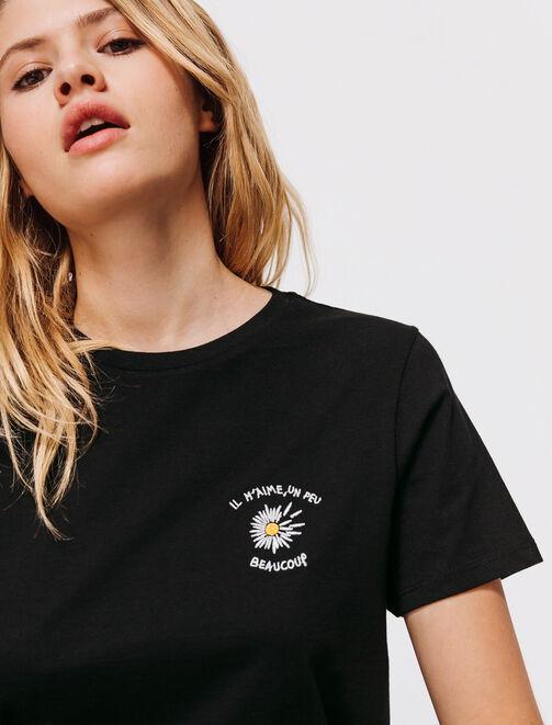 """T-shirt broderie """" Il m'aime un peu..."""" femme"""