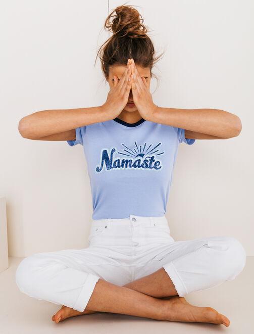 """T-shirt imprimé vintage """"Namaste"""" femme"""
