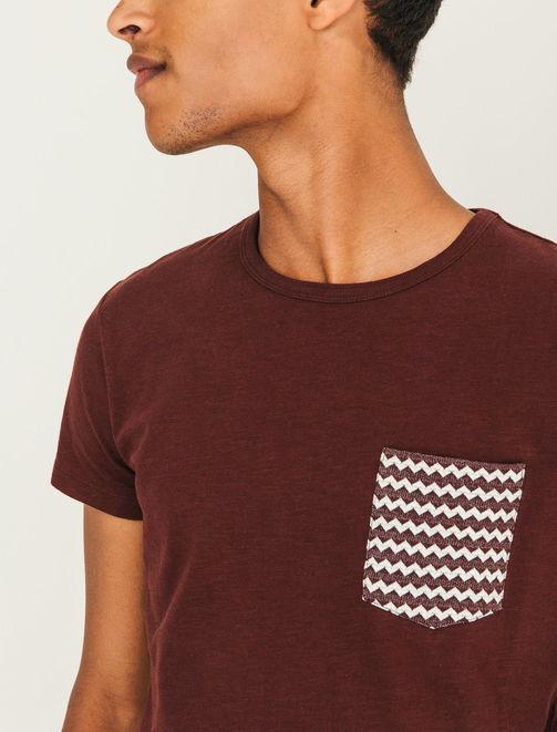 T-shirt poche jacquard zigzag homme