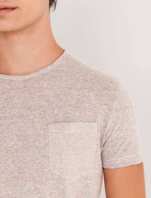 T-shirt effet rayé et poche poitrine homme