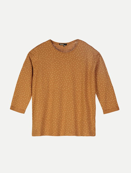 T-Shirt col rond imprimé or all-over femme
