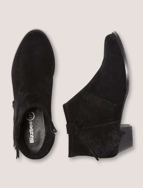 Boots Frangées en  cuir femme