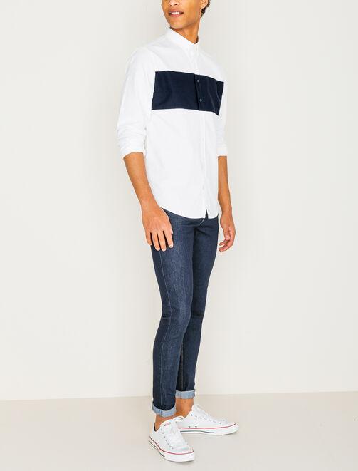 Chemise blanche et bande colorblock homme