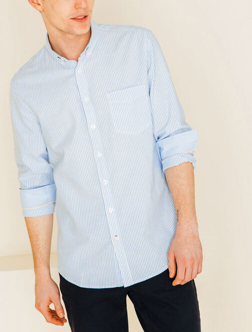Chemise manches longues fines rayures homme