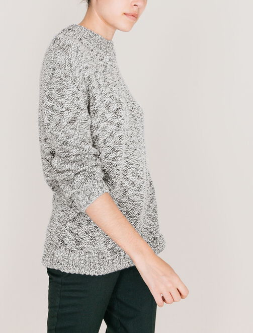 Pull col rond fantaisie, coupe oversize. femme
