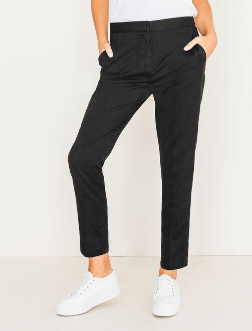 Pantalon uni à taille élastiquée femme
