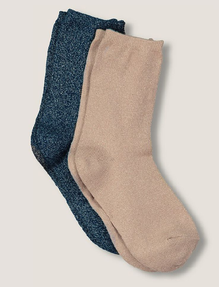 chaussettes lurex femme bleu marine bizzbee. Black Bedroom Furniture Sets. Home Design Ideas