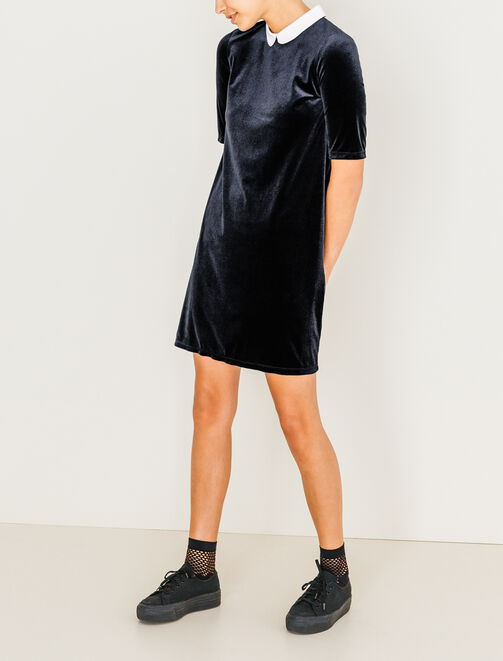 Robe en velours à col claudine femme