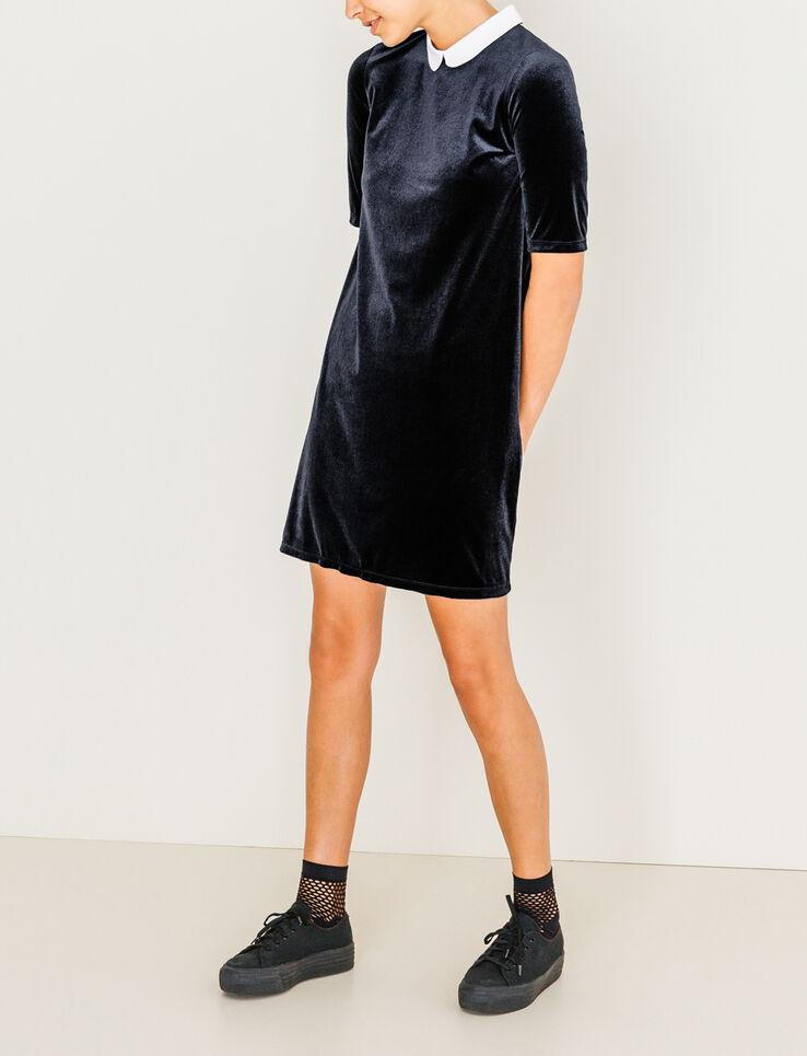 robe en velours col claudine femme bleu marine bizzbee. Black Bedroom Furniture Sets. Home Design Ideas