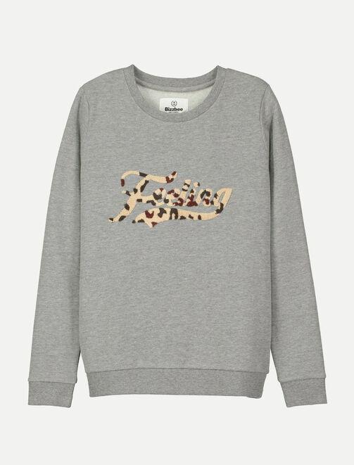 Sweat col rond patch léopard femme