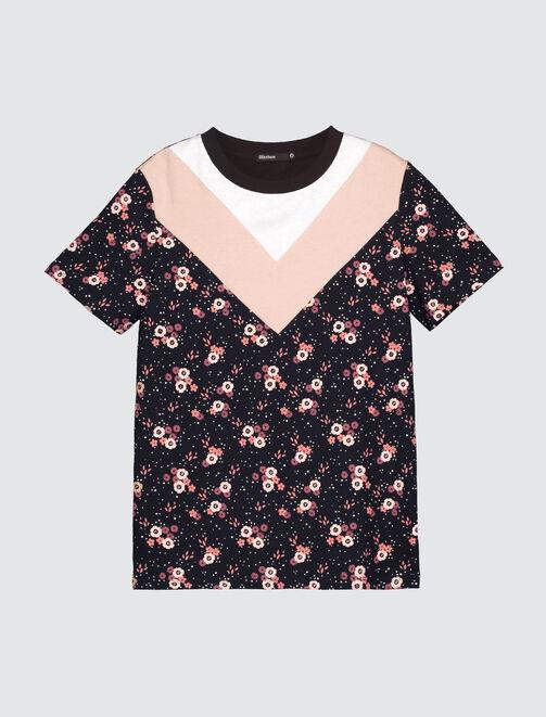 T-shirt colorblock fleuri femme