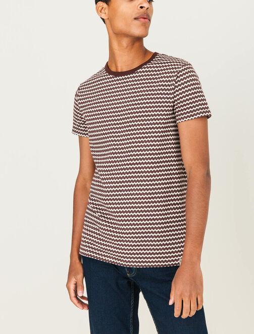 T-shirt jacquard zigzag homme