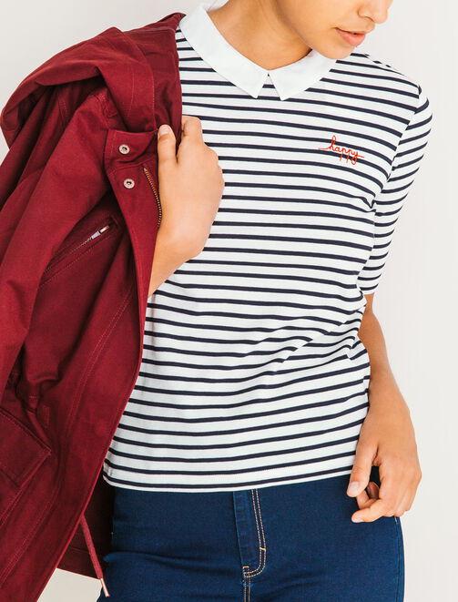 T-shirt rayé col contrasté  femme