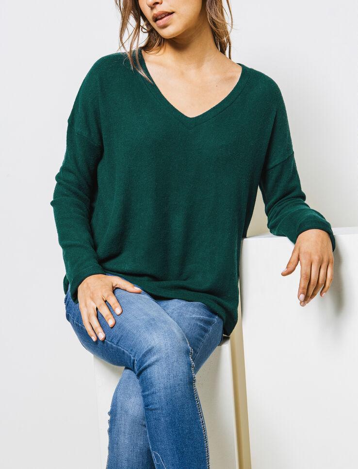pull col v tout doux femme vert bouteille bizzbee. Black Bedroom Furniture Sets. Home Design Ideas