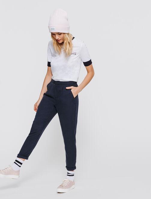 Pantalon fluide uni femme
