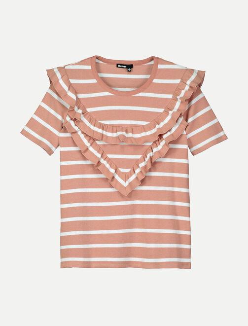 T-shirt manches courtes rayures et volants femme