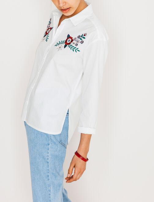 Chemise brodée blanche femme