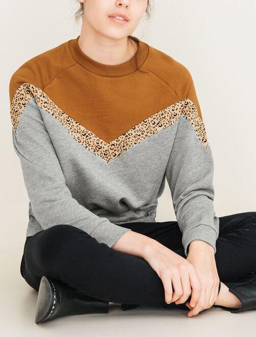 Sweat colorblock léopard  femme