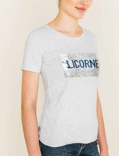 Tee shirt à sequins Licorne / Sirène femme