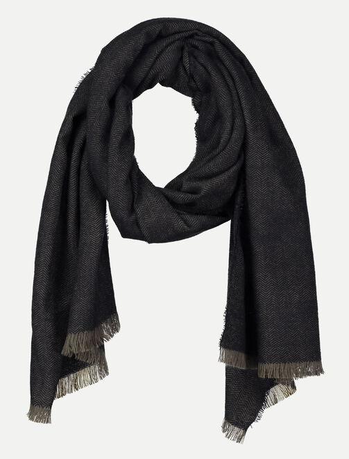 Foulard chevrons khaki noir homme