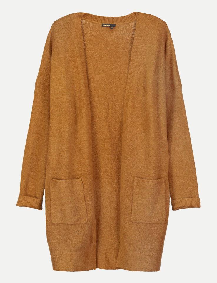 gilet long poche plaqu es femme camel bizzbee. Black Bedroom Furniture Sets. Home Design Ideas