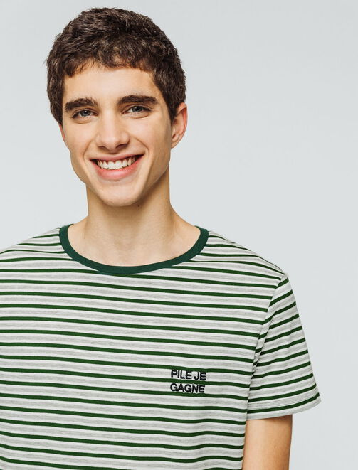 "T-shirt rayé bicolore typo ""Pile je gagne"" homme"