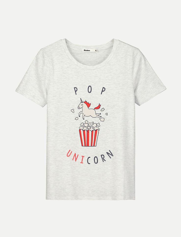t shirt imprim licorne pop unicorn femme gris chine. Black Bedroom Furniture Sets. Home Design Ideas