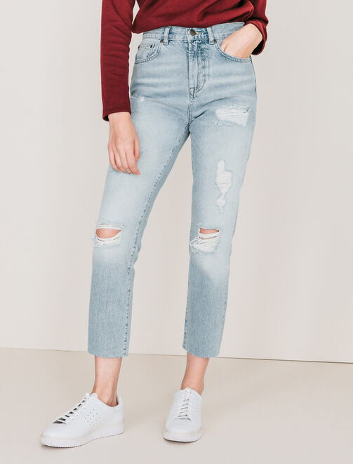 Jeans straight taille haute femme