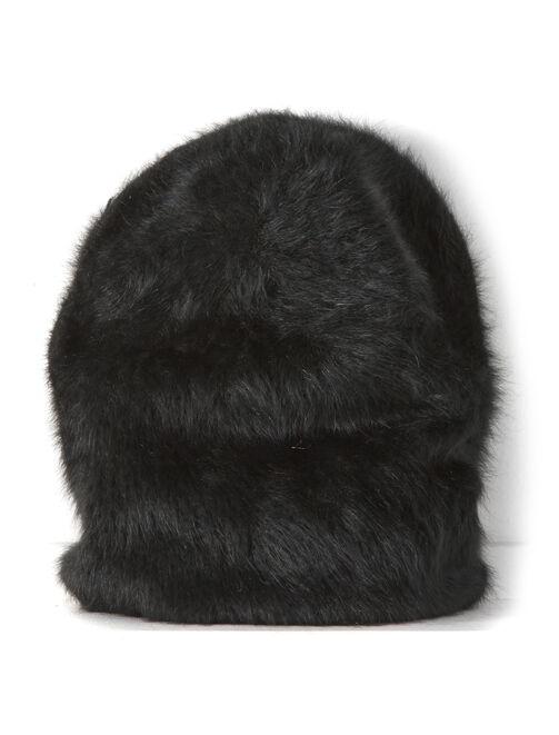 bonnet loose angora noir femme