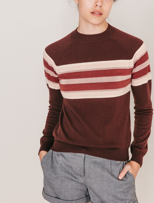 Pull col montant rayures placées poitrine lurex femme