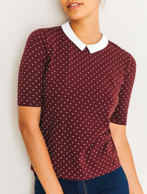 T-shirt à pois col contrasté femme