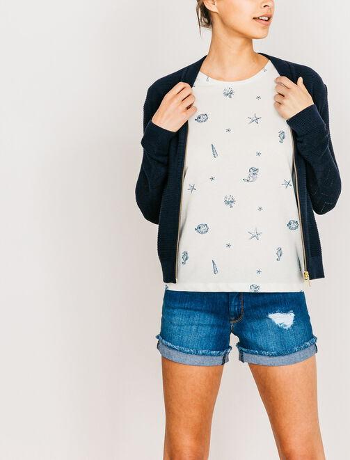 T-shirt imprimé marin  femme