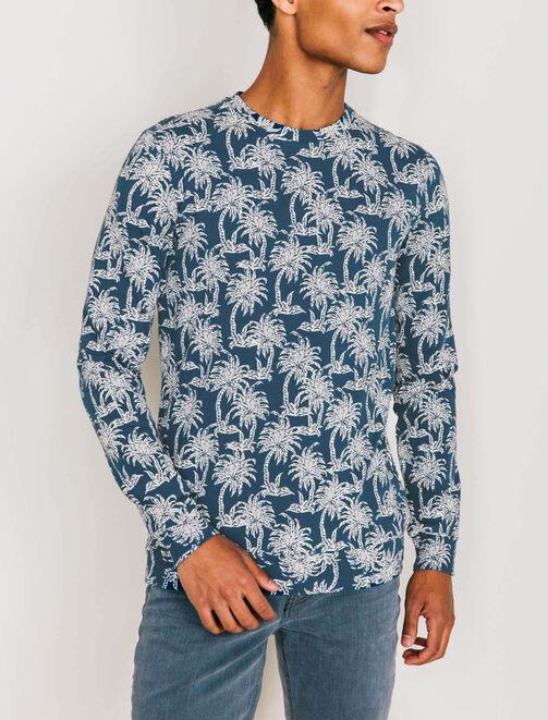 T-shirt esprit sweat Palmiers homme