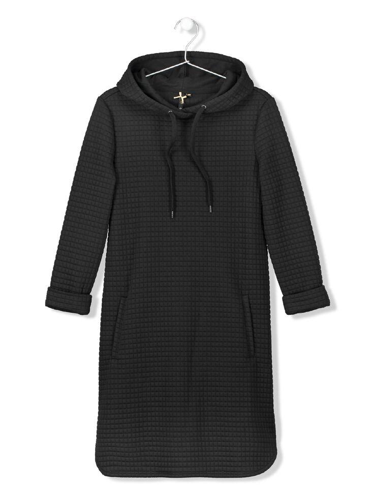 robe sweat capuche et liens femme noir bizzbee. Black Bedroom Furniture Sets. Home Design Ideas