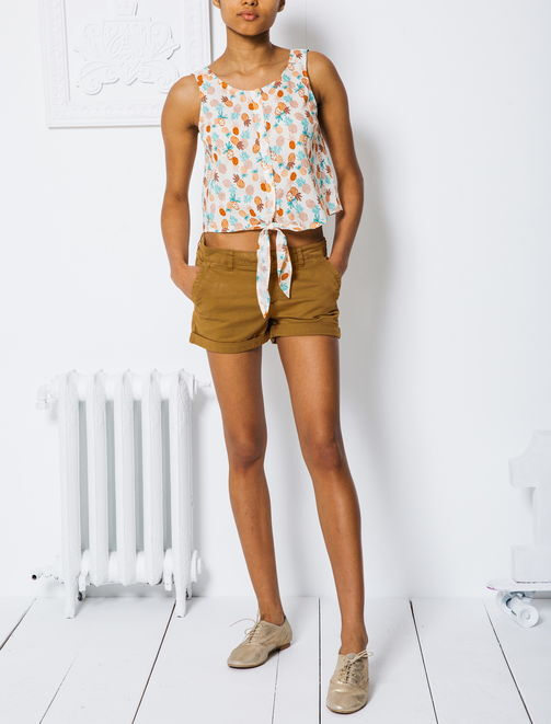 Top cropped ananas femme