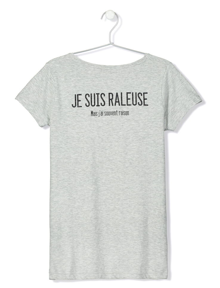 T-shirt col V message je suis raleuse