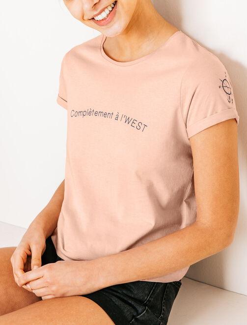 """Tee shirt imprimé """"complètement à l'west"""" femme"""