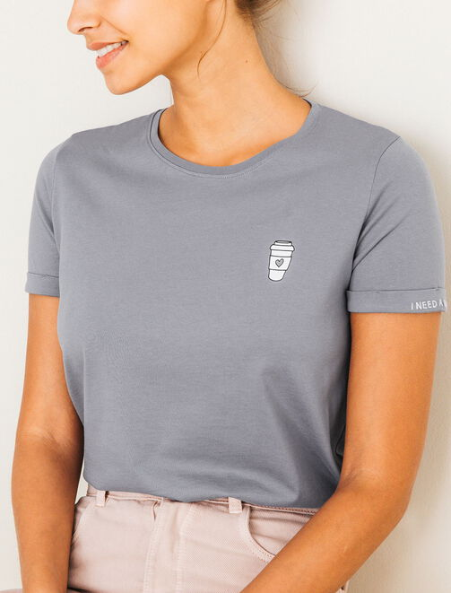 T-shirt col rond broderie manche femme