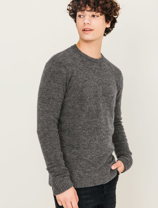Pull col rond effet poilu homme