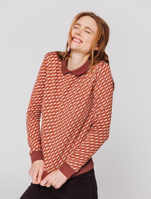 Pull col chemise aux motifs graphiques femme