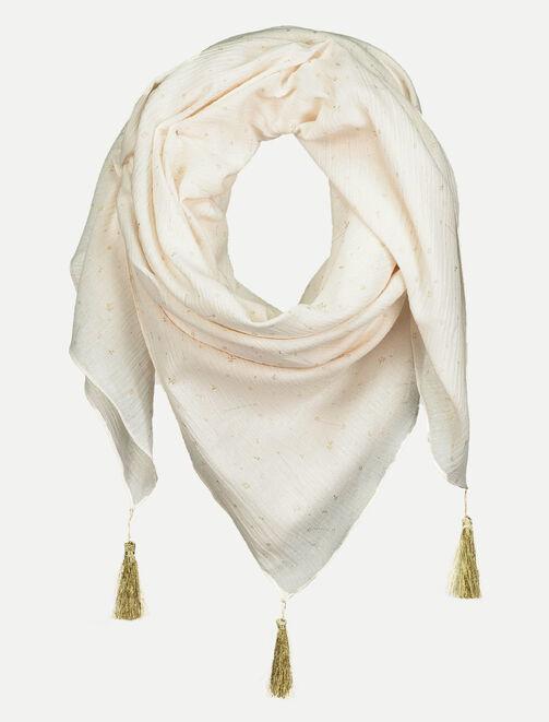Foulard en coton avec pompon lurex  femme