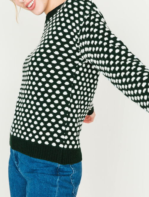 Pull col rond à pois femme