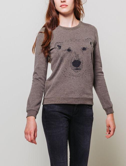 Sweat imprimé ours femme