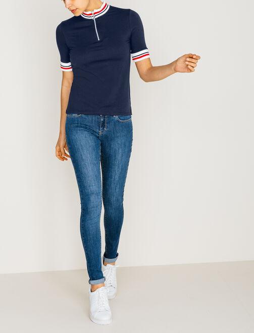 Tee shirt col montant zippé  femme