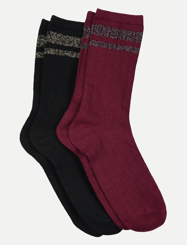 chaussettes rayures lurex femme bordeau fonc bizzbee. Black Bedroom Furniture Sets. Home Design Ideas