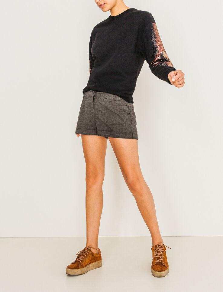 Short carreaux femme gris chin bizzbee for Short a carreaux