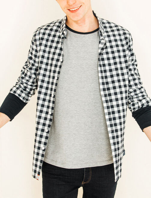 Chemise manches longues vichy homme